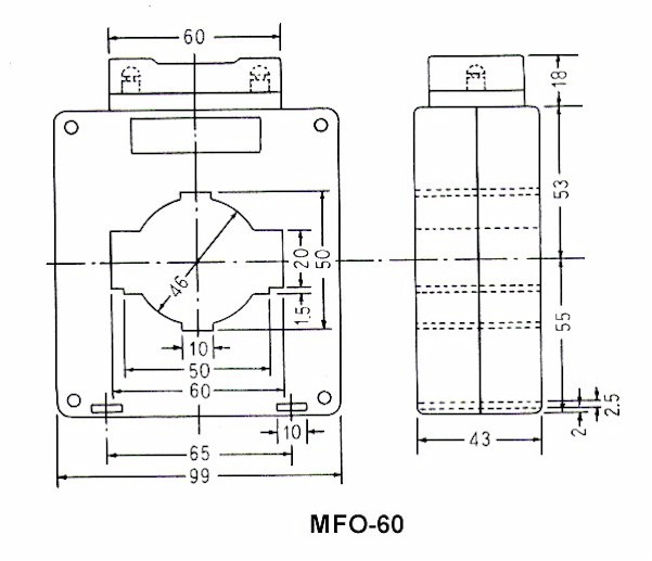 HEW BRAND MFO-60 CURRENT TRANSFORMER